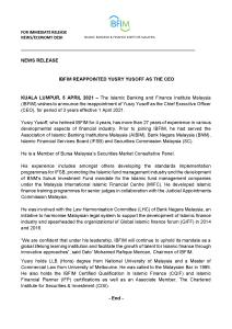 Media Release - Reppoinment of IBFIM CEO